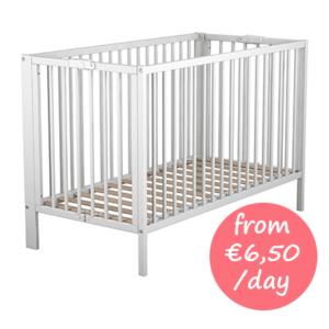Hire wooden baby cot Majorca
